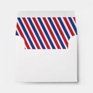 Airmail Diagonal Stripes Liner - Red and Royal Envelope