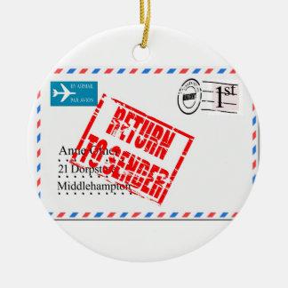Airmail envelope return to sender ceramic ornament