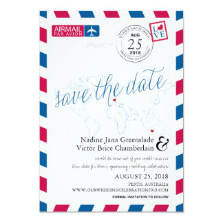 Airmail Heart Italy and Austraila Save the Date Card