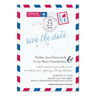 """Airmail Heart New Jersey and France Save the Date 5"""" X 7"""" Invitation Card"""