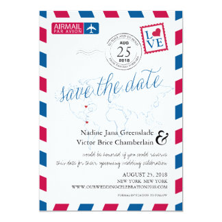 Airmail Heart New York and Colombia Save the Date Card