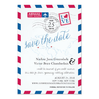 Airmail Heart New York and Italy Save the Date 5x7 Paper Invitation Card