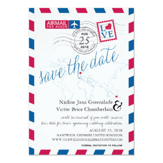 """Airmail Heart UK and Austraila Save the Date 5"""" X 7"""" Invitation Card"""