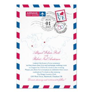 Airmail Heart UK and Missouri USA Wedding Card
