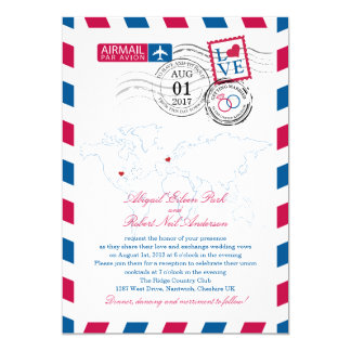Airmail Heart UK and Missouri USA Wedding 5x7 Paper Invitation Card
