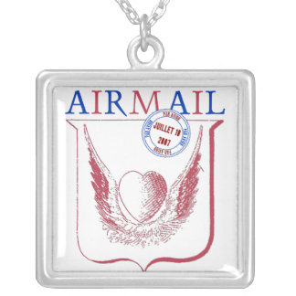Airmail Heart & Wings Square Pendant Necklace