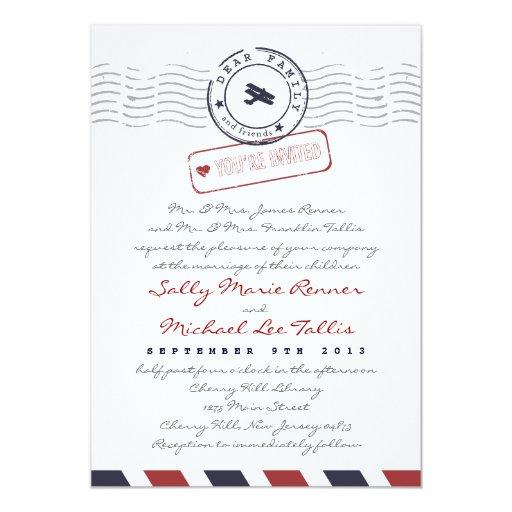 Airmail Love Letter Wedding Invitation