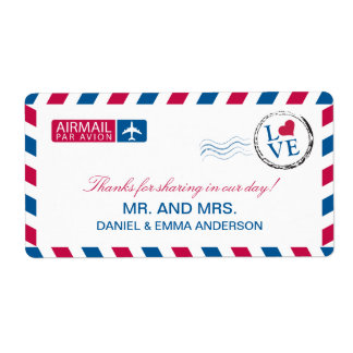 Airmail Love Wedding Thank You Label