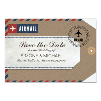 Airmail Luggage Tag Wedding Save Date Kraft Paper 3.5x5 Paper Invitation Card