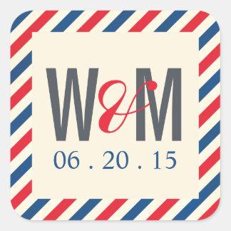 Airmail Monogram Wedding Favor Sticker
