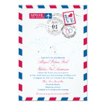 "Airmail New York, Scotland and Greece Wedding 5"" X 7"" Invitation Card"