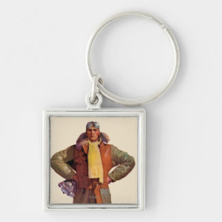 Airmail Pilot Silver-Colored Square Keychain