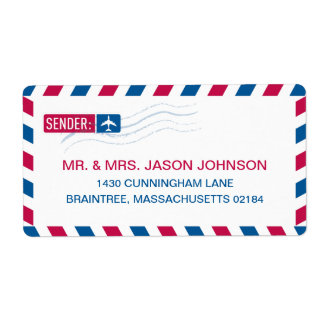 Airmail RETURN ADDRESS Mailing Label