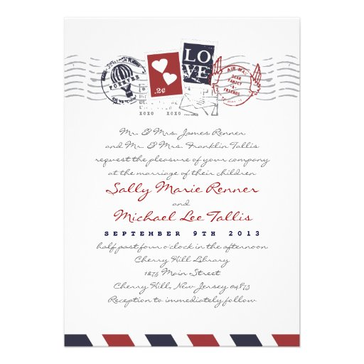 airmail stamps love letter wedding invitation 5 x 7 invitation ca