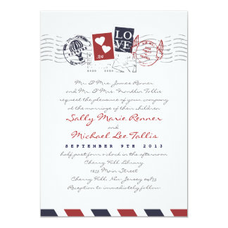 Airmail Stamps Love Letter Wedding Invitation