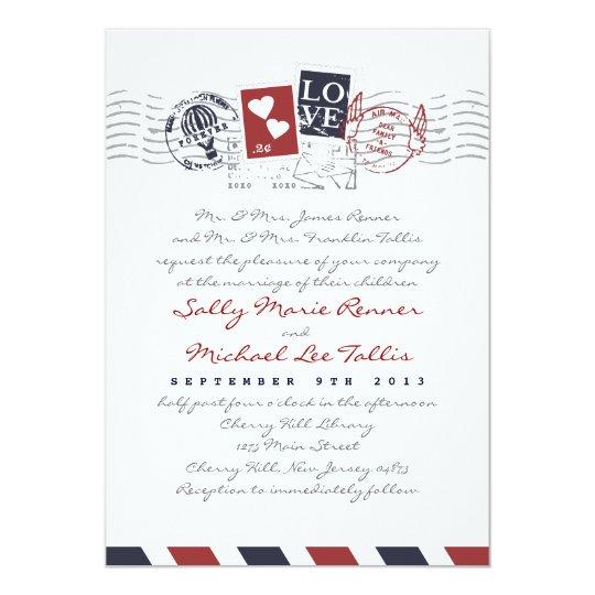 Airmail Stamps Love Letter Wedding Invitation Zazzle Com