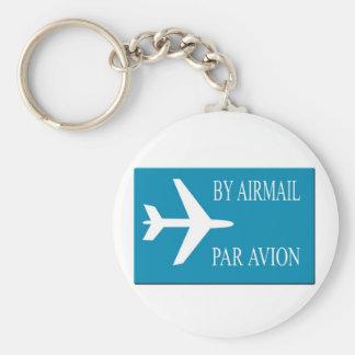 Airmail sticker effect basic round button keychain