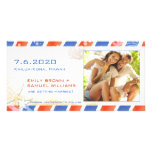Airmail Summer Beach Save the Date Couple Photo Picture Card