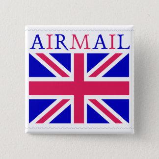 Airmail Union Jack Flag Pinback Button
