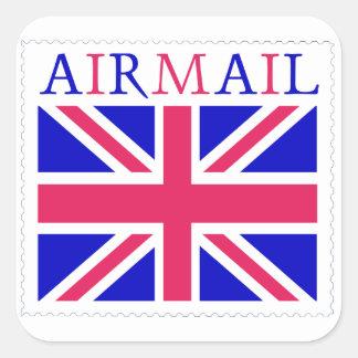 Airmail Union Jack Flag Square Sticker