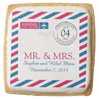 Airmail | Wedding Bridal Shower Square Shortbread Cookie