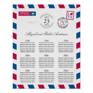 Airmail Wedding Guest Seating Chart Poster