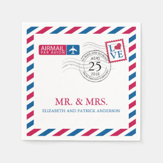 Airmail Wedding Reception Paper Napkins