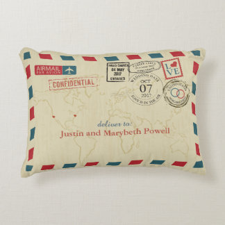 Airmail Wedding Travel Theme Decorative Pillow
