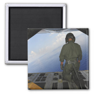 Airman observes the waters of the Gulf of Mexic Fridge Magnet
