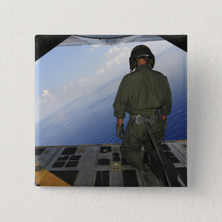 Airman observes the waters of the Gulf of Mexic Pinback Button