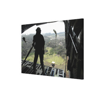 Airman watches a practice bundle fall canvas print
