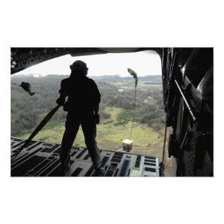 Airman watches a practice bundle fall photo print