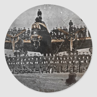 Airmen on an Avro Lancaster Classic Round Sticker