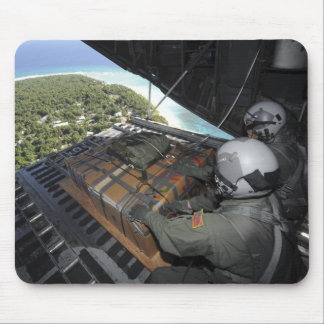Airmen push out a pallet of donated goods 2 mouse pad