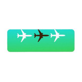 Airplaine retro etiqueta de remitente