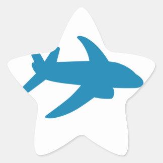 Airplaine Silhoutte Classic Star Sticker