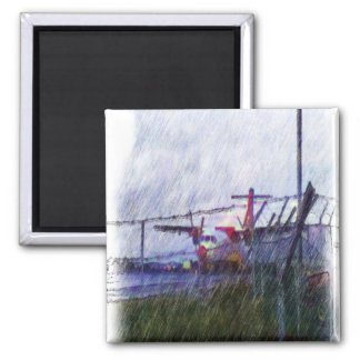 Airplane 2 Inch Square Magnet