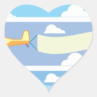 Airplane advertising heart sticker