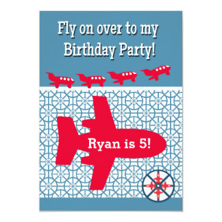 Airplane Aeroplane Birthday Party Invitation