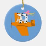 Airplane and Dalmatians Double-Sided Ceramic Round Christmas Ornament