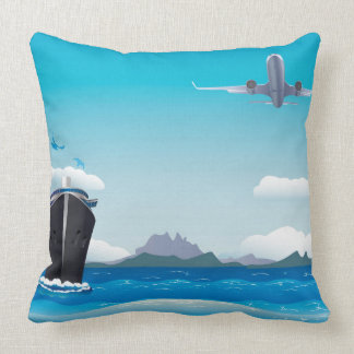 Airplane and Ship Throw Pillow