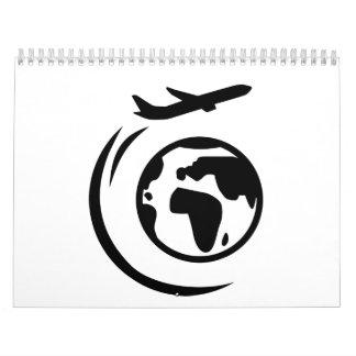 Airplane around world globe calendar