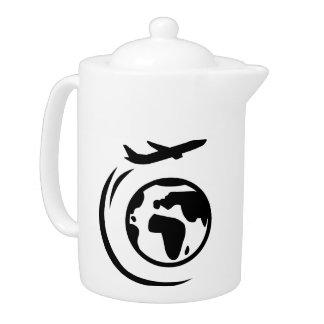 Airplane around world globe teapot