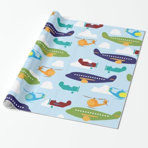 Airplane Aviation Theme Gift Wrap