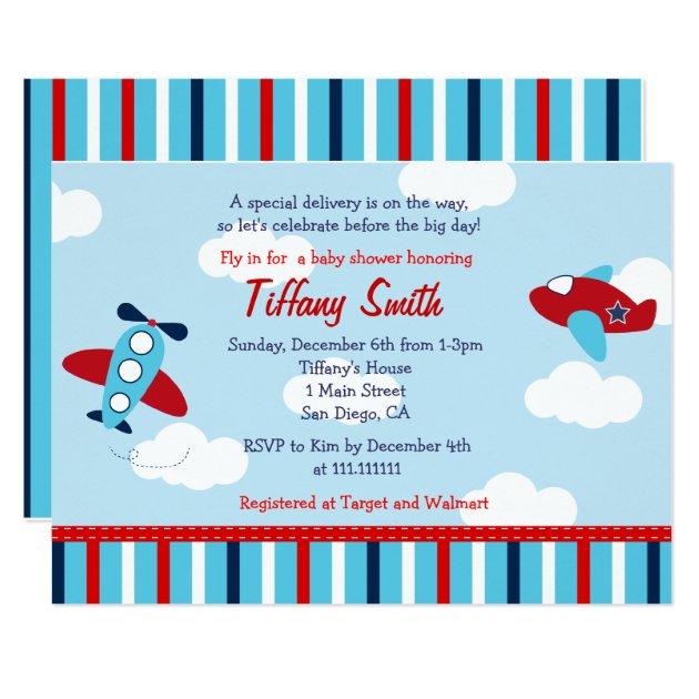 airplane aviator baby boy baby shower invitations | zazzle, Baby shower invitations