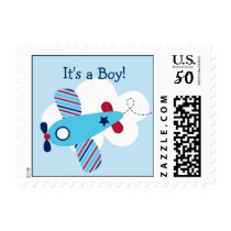 Airplane Aviator Boy Personalized Postage Stamps