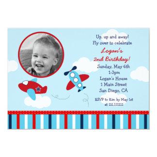 Airplane Aviator Photo Birthday Invitations