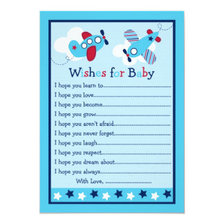Airplane Aviator  Wishes for Baby Advice Cards