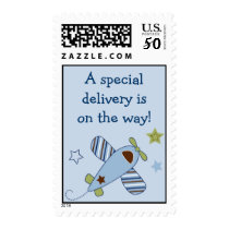 Airplane Baby Boy Personalized Postage Stamps