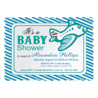 Airplane Baby Shower   blue teal white 5x7 Paper Invitation Card
